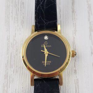 Armitron Diamond Quartz Black Leather Watch Round